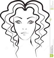 woman with curly hair stock vector