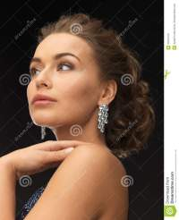 Woman With Diamond Earrings Stock Photo - Image: 31870470