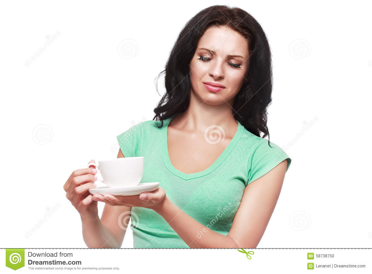 Woman Doesn T Like Her Drink Stock Photo