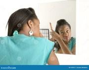 woman hair in mirror