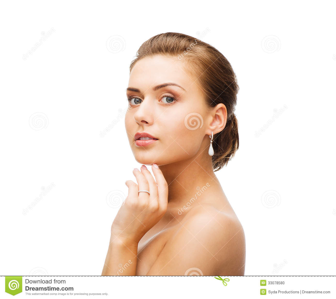 Woman With Earrings And Wedding Ring Stock Photo