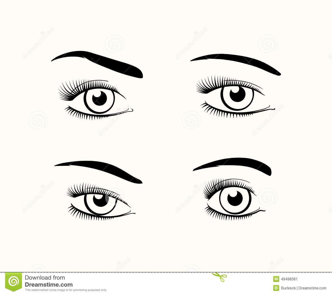 Woman Eye Silhouettes Stock Vector Illustration Of Drawn
