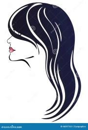 woman face with long dark hair