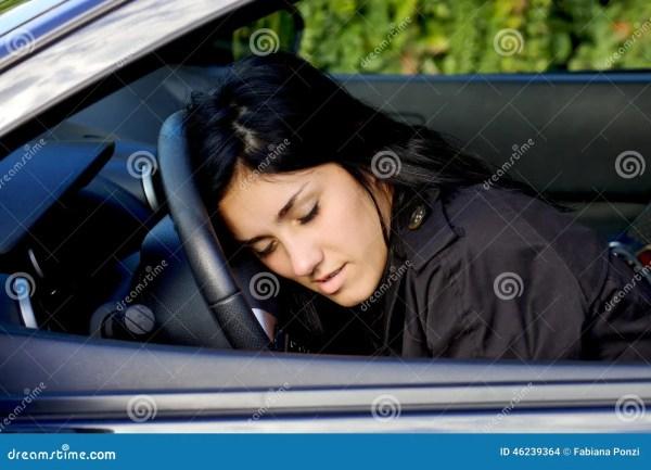 Woman Falling Asleep Wheel In Car Drunk Stock