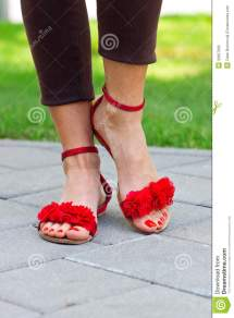 Woman Feet In Sandals Stock Of Beautician