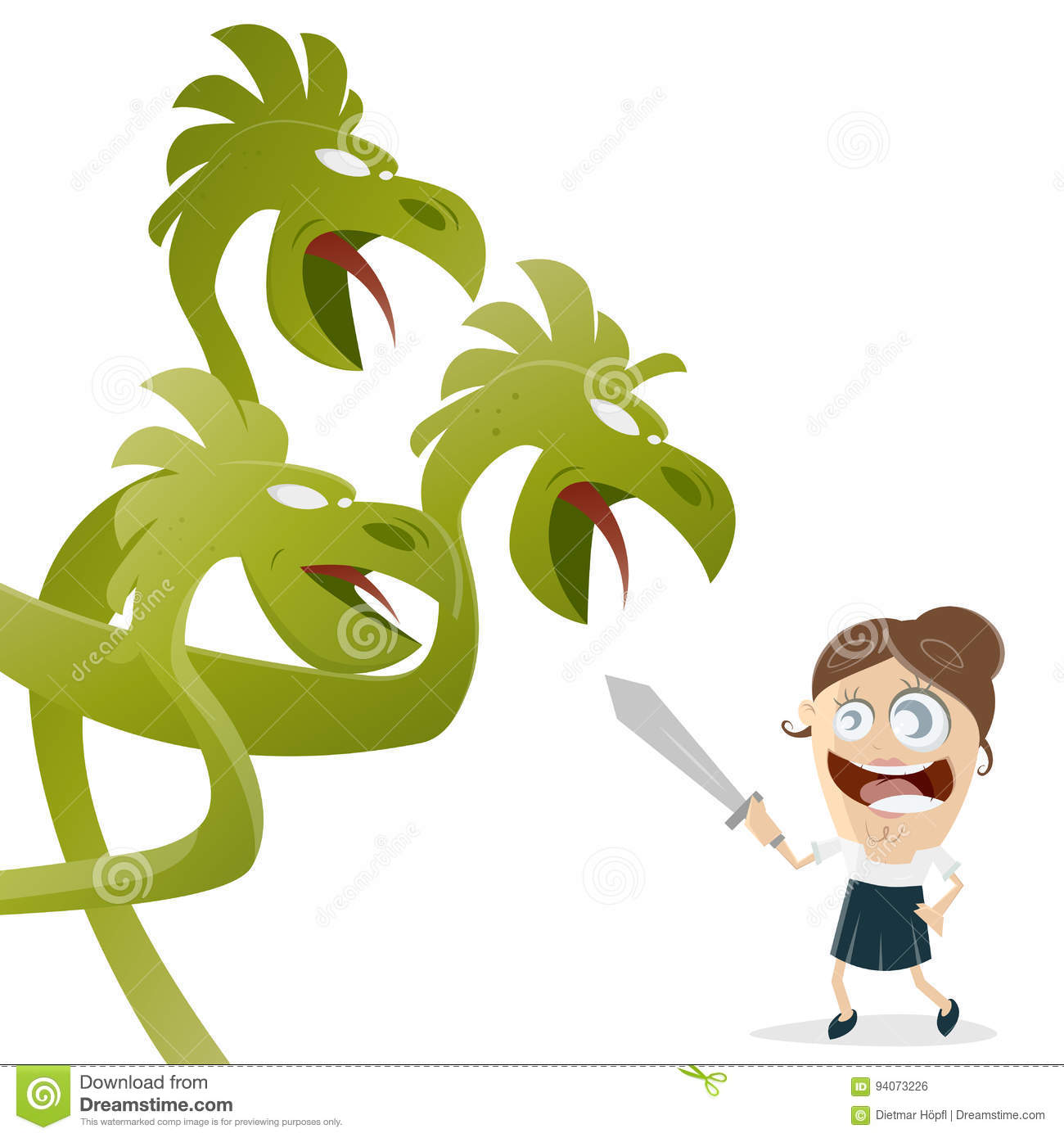 hight resolution of clipart of a woman fighting against large dragon