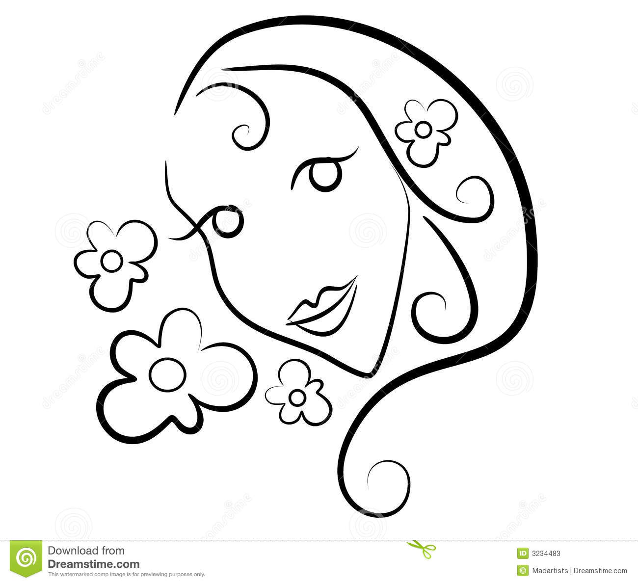 Woman Flowers Clip Art Outline Stock Illustration