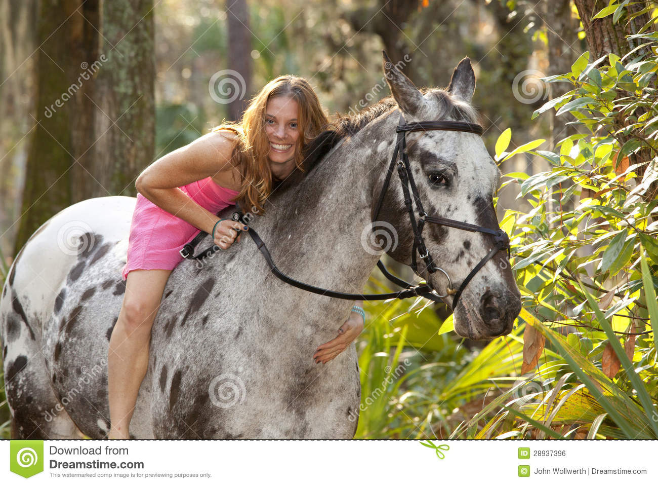 Modern Girl Wallpaper Free Download Woman In Forest Lying On Horse Stock Photo Image Of Ride