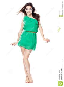Barefoot Woman Green Dress