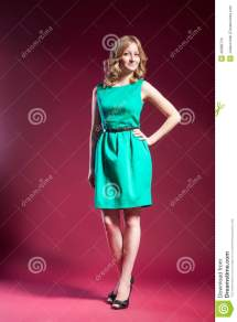 Woman In Green Dress Barefoot Red Stock