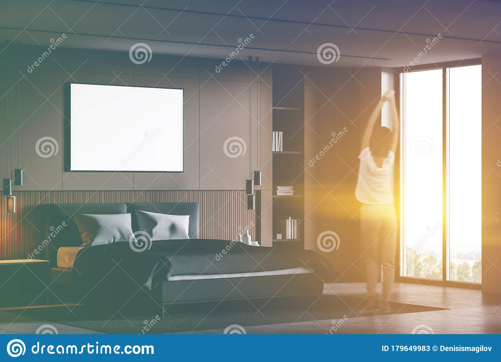 Woman In Grey Master Bathroom With Poster Stock Image Image Of Design Filter 179649983