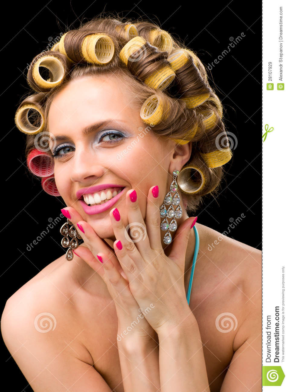 Woman With Hair Curlers Royalty Free Stock Images Image