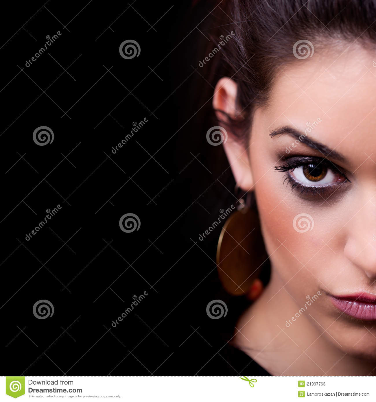 Woman Half Face Portrait On Black Stock Photos