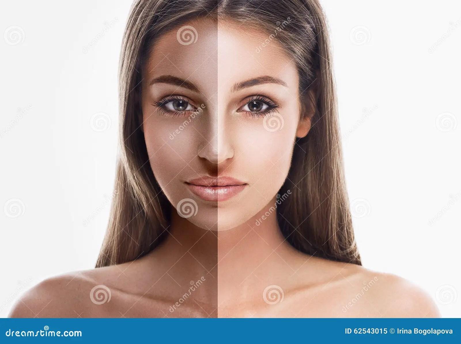 Woman Half Face Tan Beautiful Portrait Stock Photo