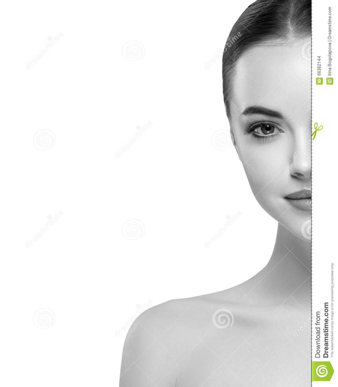 Woman Half Face Young Beautiful Healthy Skin Portrait Black And White Stock Photo