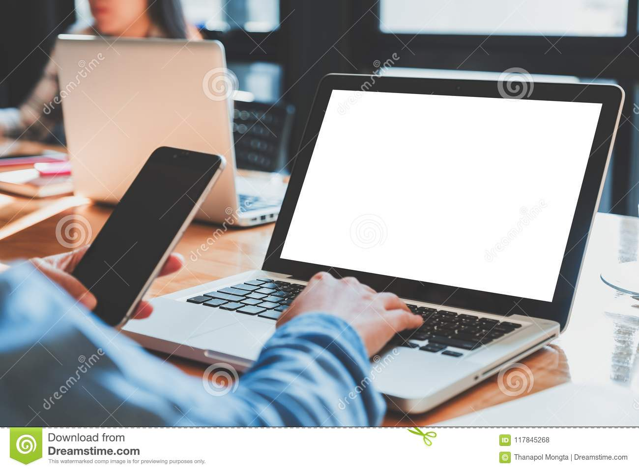 Woman Hands Typing On Laptop Keyboard With White Blank