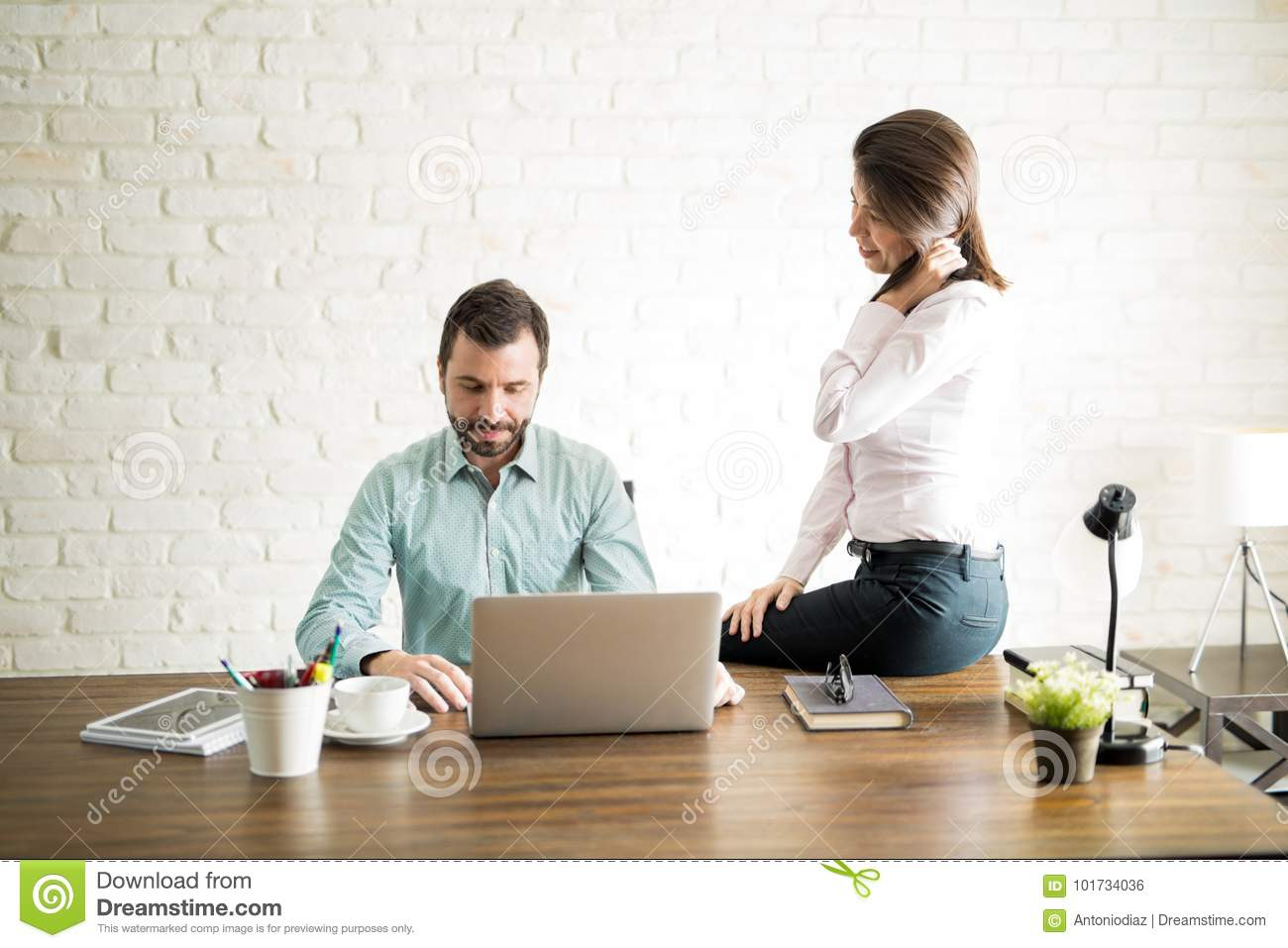 Woman Harassing New Employee Stock Photo  Image of