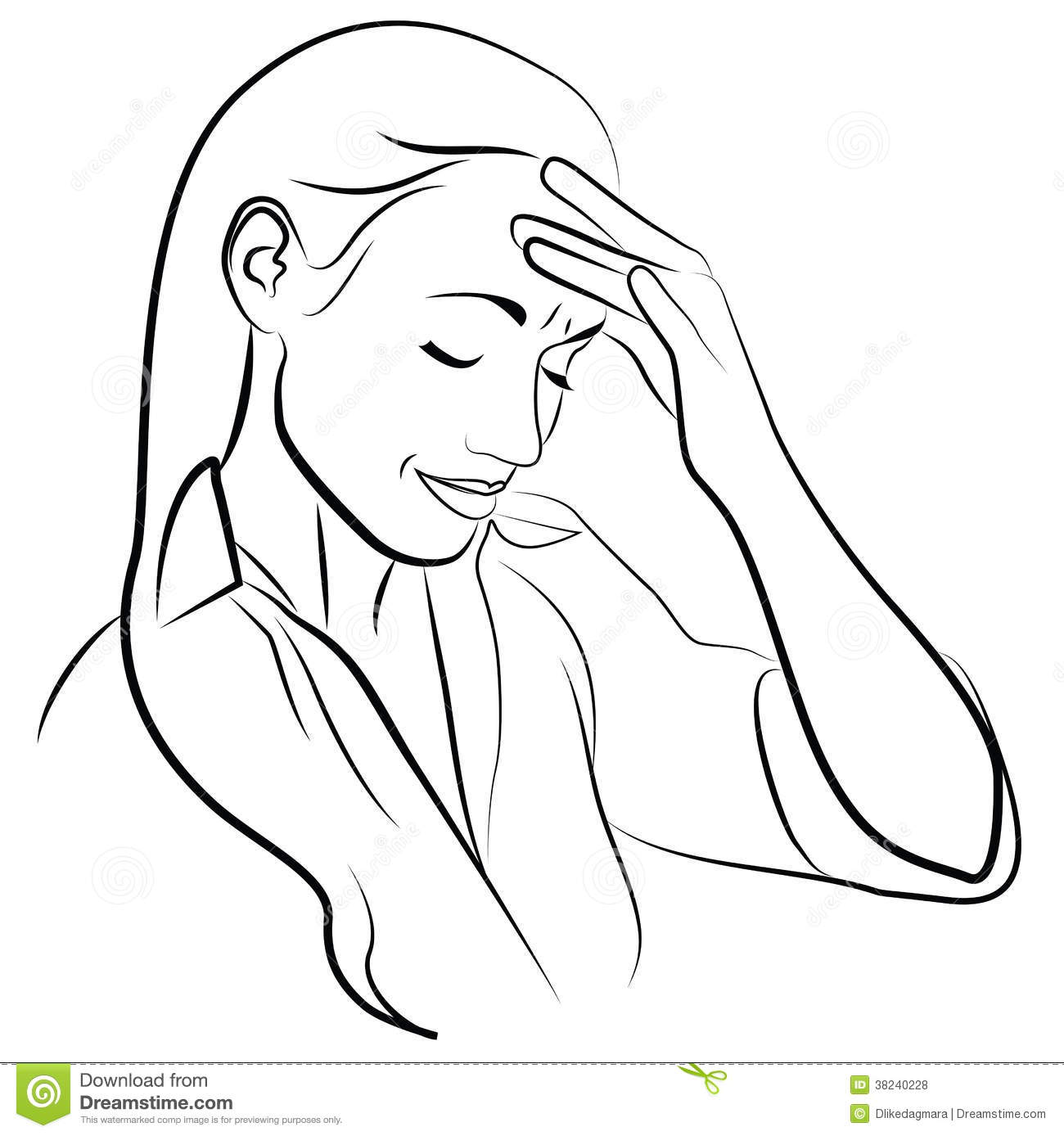 Woman With Headache Stock Illustration Image Of