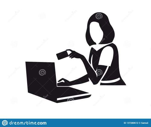 small resolution of female figure with laptop clipart online shopping e commerce lady making order on computer flat character e payment isolated illustration