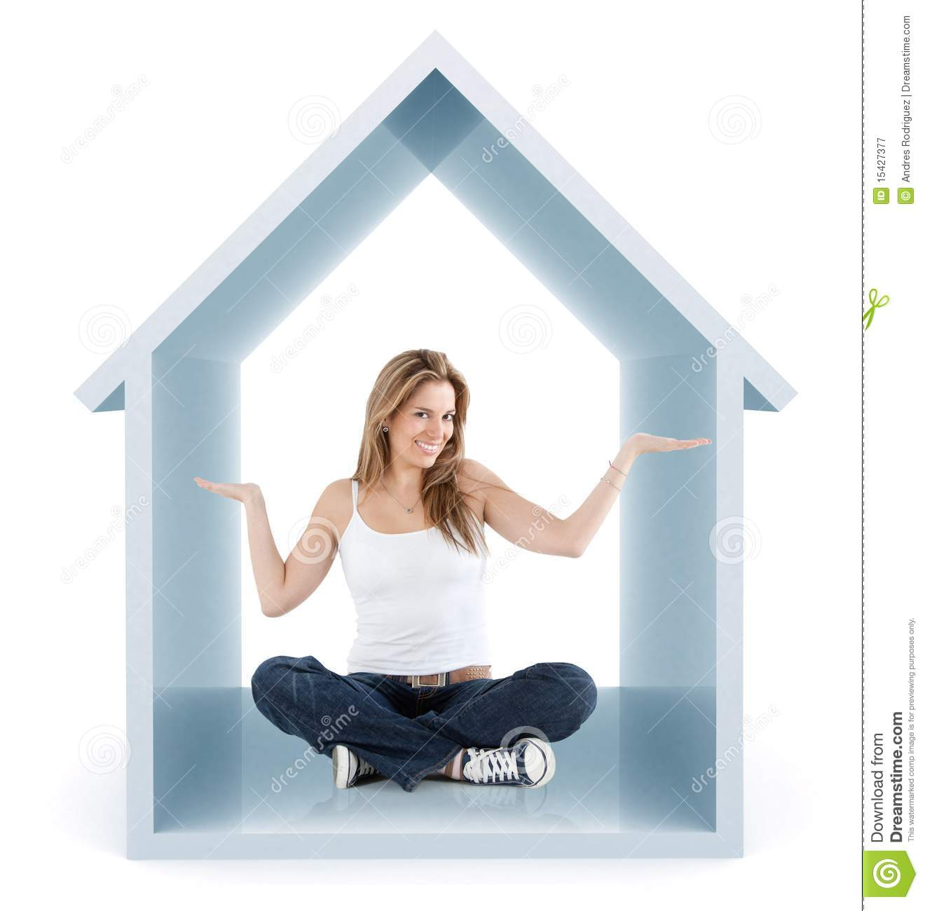 Woman inside a 3d house stock image Image of person