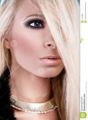 woman with long blond hair stock