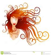 woman with long red flowing hair