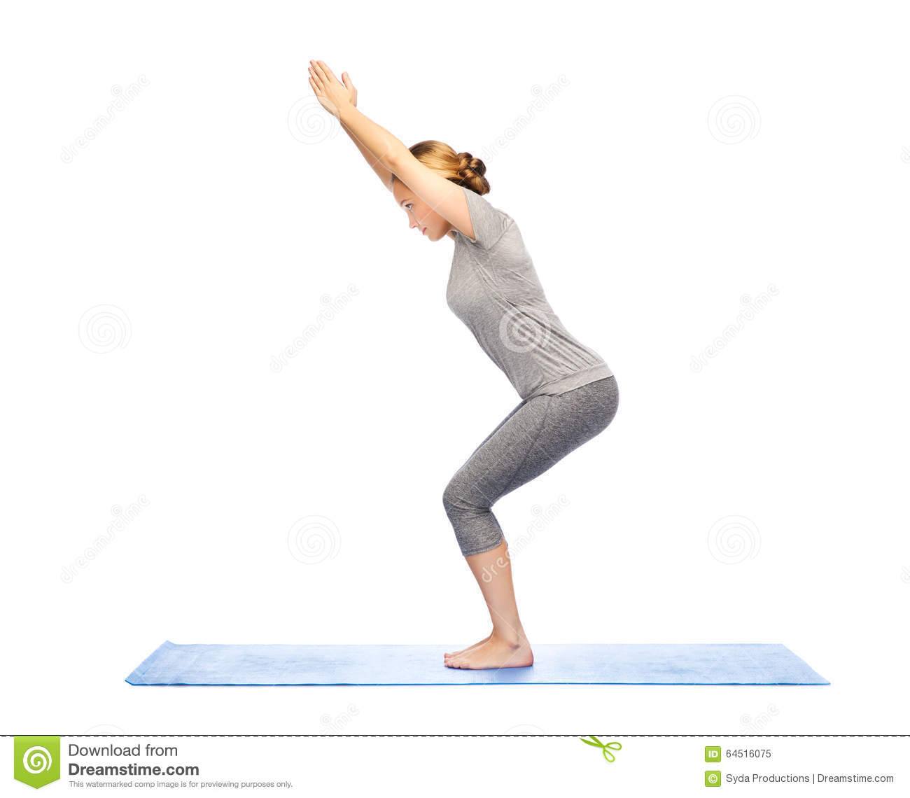 yoga chair pose bean bags chairs in bulk woman making on mat stock image of