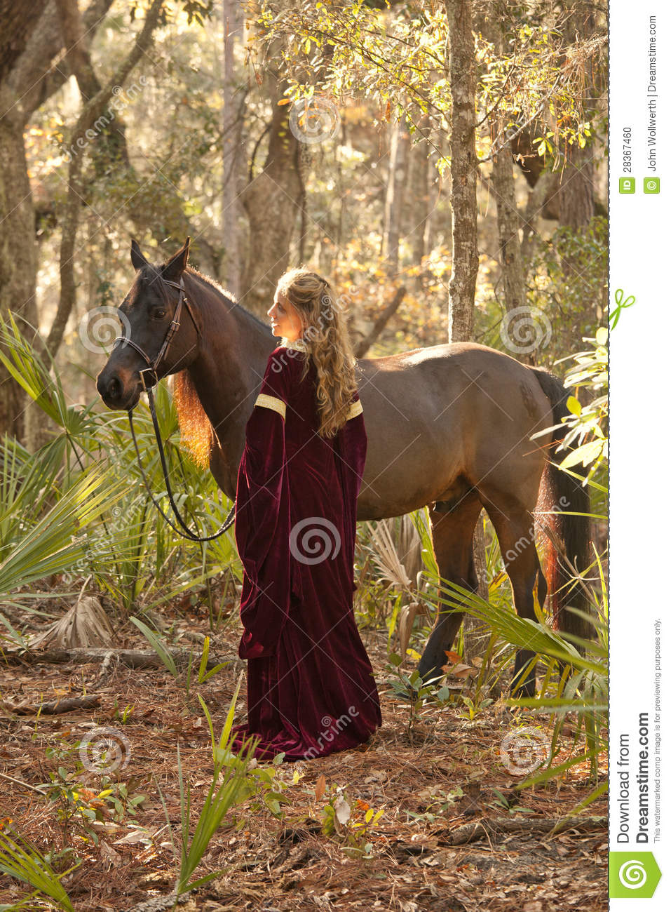 Woman In Medieval Dress With Horse In Forest Stock Photo