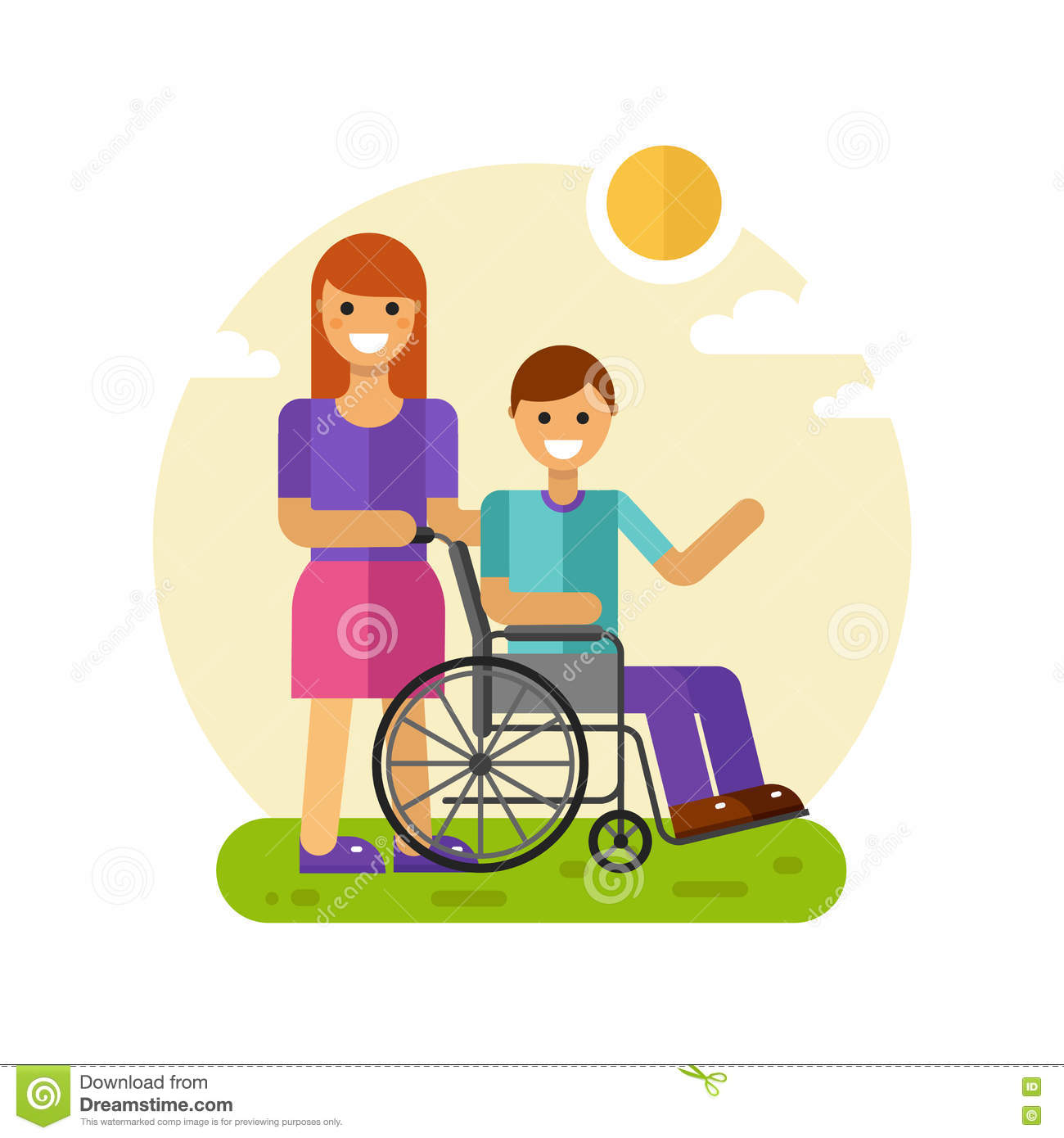 hight resolution of woman with men in wheelchair