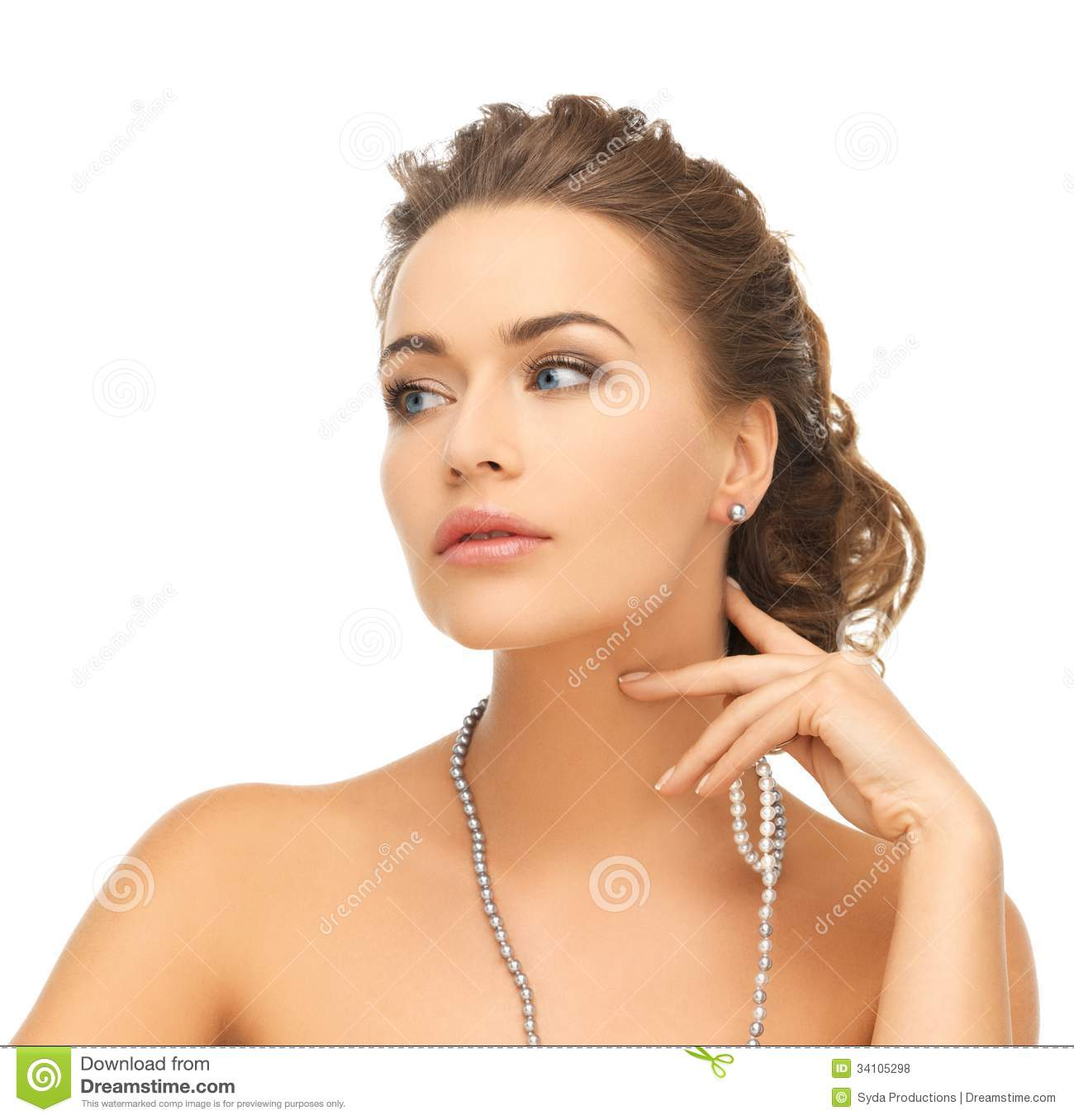 Woman With Pearl Earrings And Necklace Stock Photo
