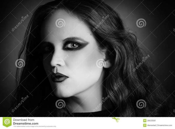 Woman Portrait In Vamp Gothic Black Style Stock - 28533581