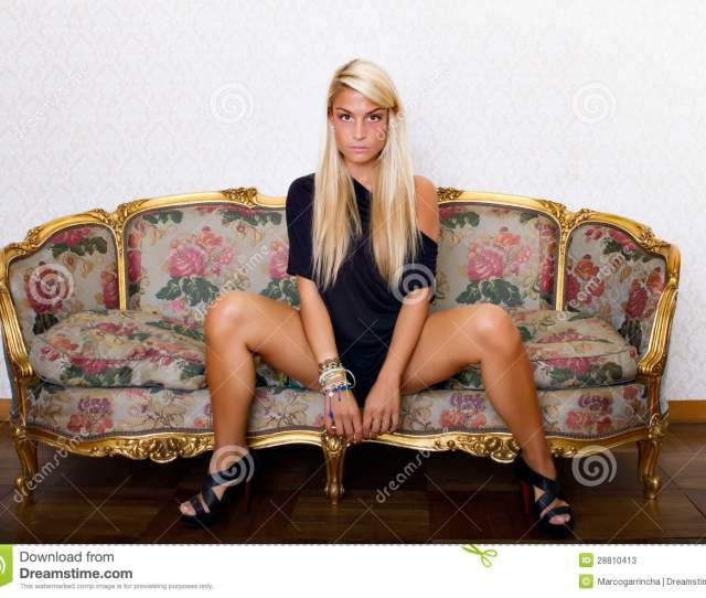 Woman Posing With Open Legs