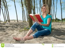 Woman Reading Book Stock Of Calm Cover