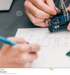 woman recapping electronics creation process engineer assistant drawing wiring diagram of electronic construction modern technologies innovation  [ 1300 x 957 Pixel ]