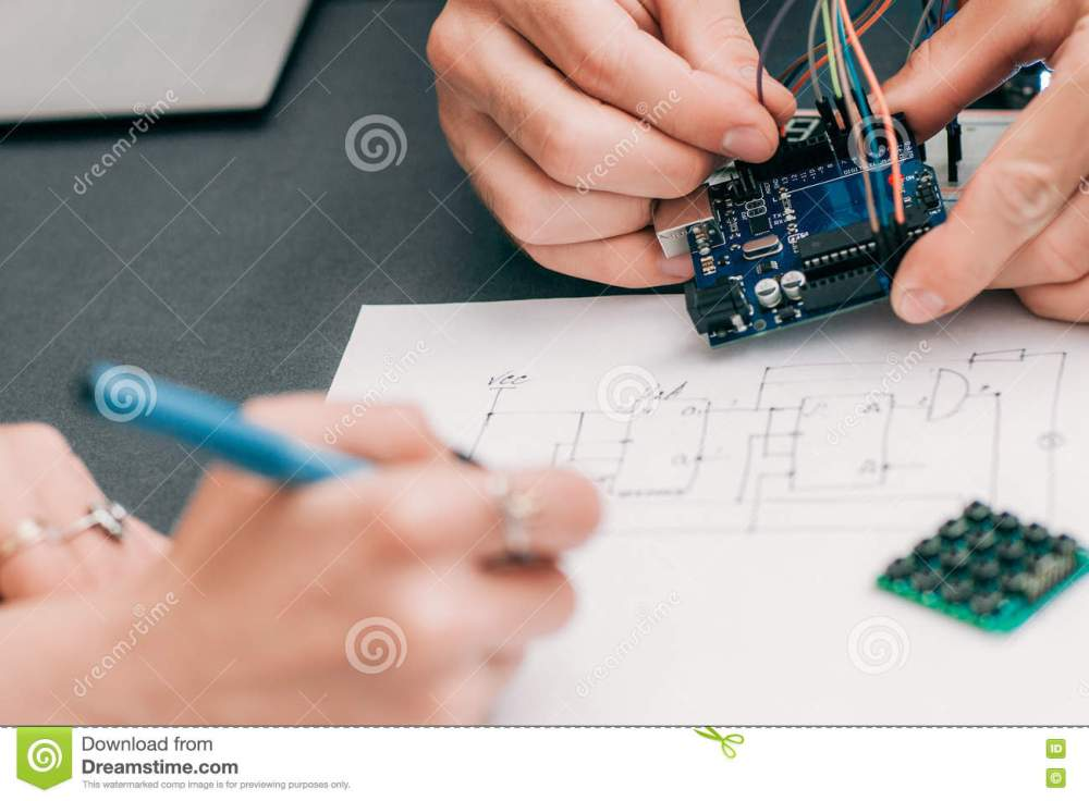medium resolution of woman recapping electronics creation process engineer assistant drawing wiring diagram of electronic construction modern technologies innovation