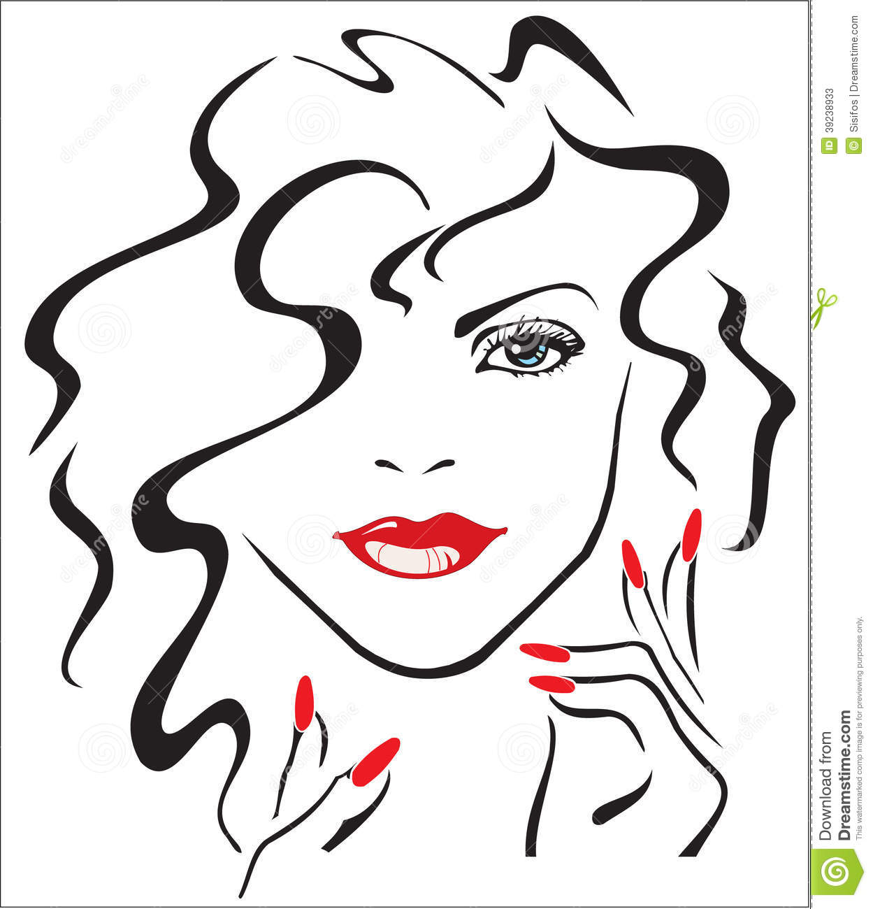 Woman With Red Lips And Red Nails Stock Illustration