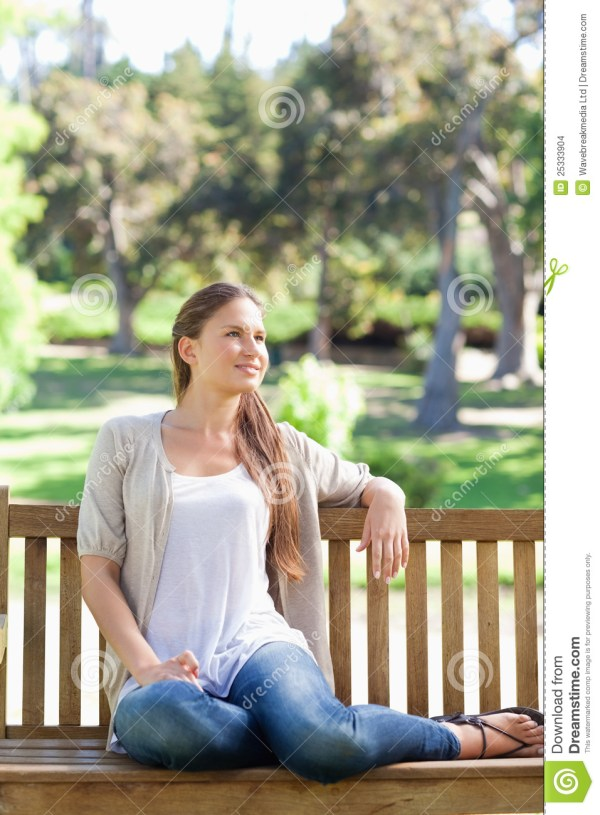Woman Relaxing Park Bench Stock - Of