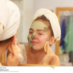 Difference Between Shower Chair And Tub Transfer Bench Reupholster Dining Room Bathroom Facials Woman Removing Facial Clay Mud Mask In