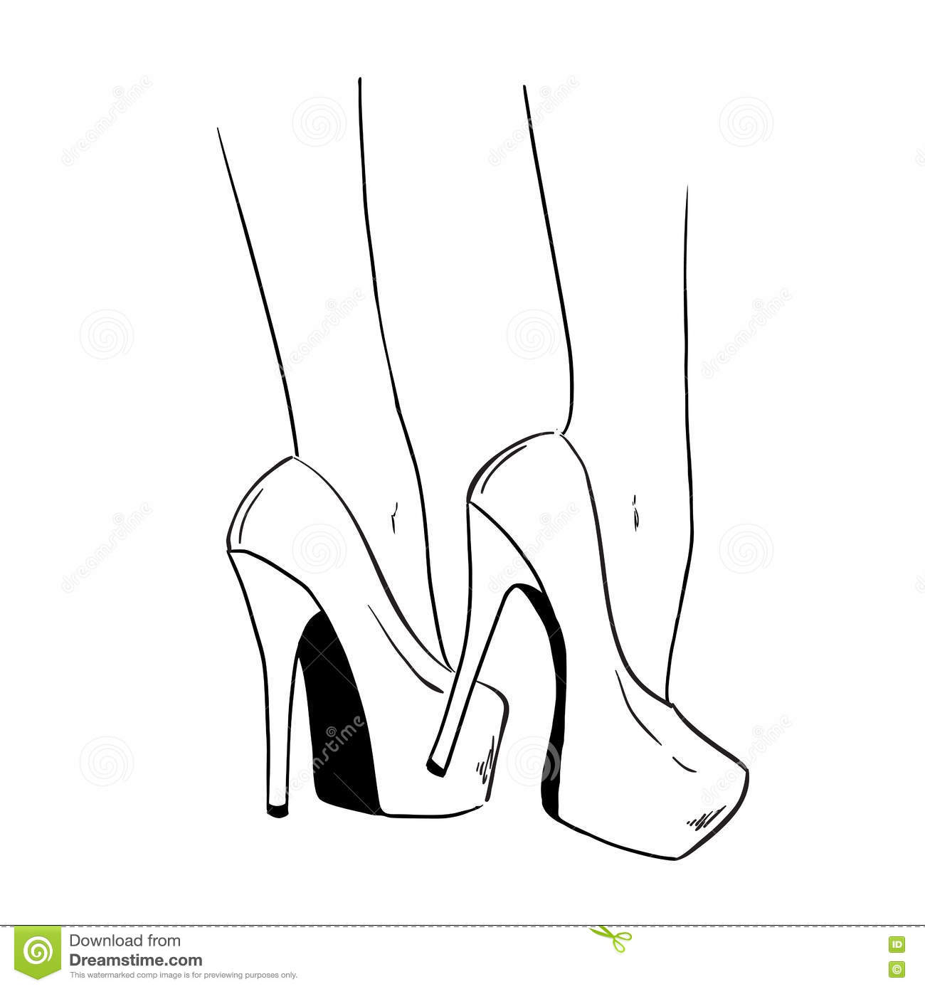 Woman Shoes With High Heels Fashion Illustration Stock