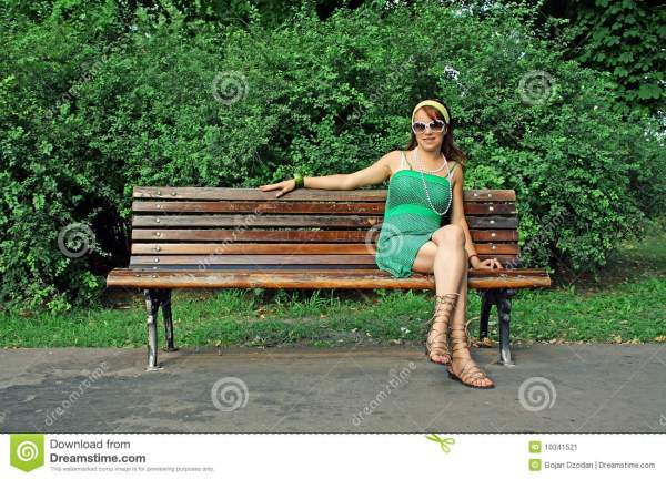 Woman Sitting Bench Stock - Of Wood