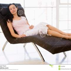 Woman Sitting In Chair Modern Occasional Chairs Sleeping Stock Image Of