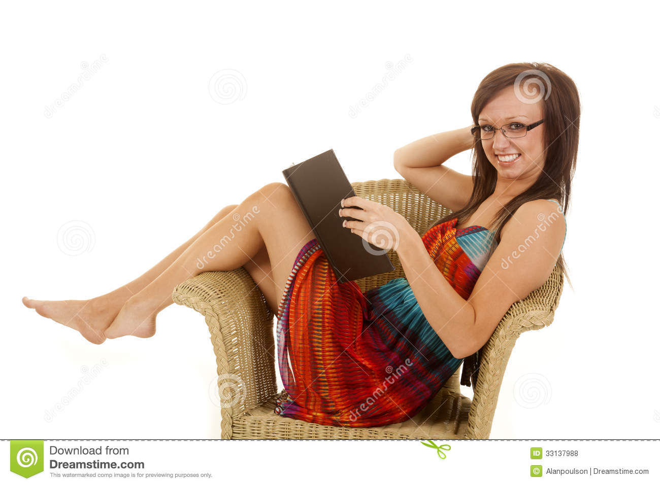 Woman Sitting Colorful Dress Wicker Chair Book Royalty