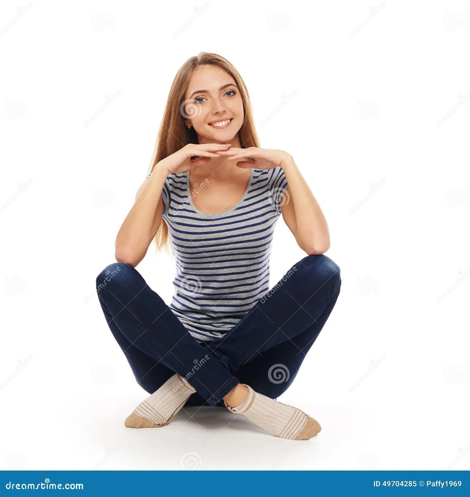 Woman Sitting On The Floor Stock Photo  Image 49704285