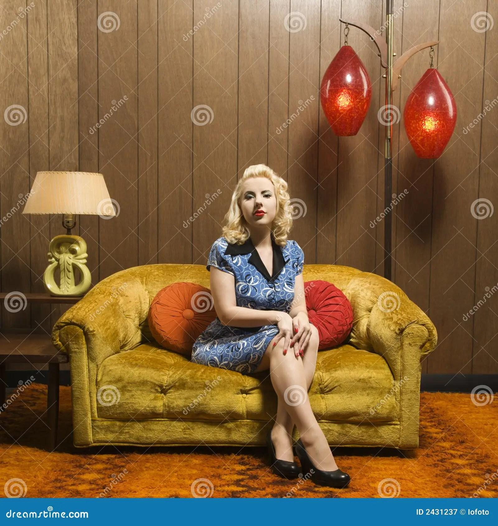 Woman Sitting In Retro Room Stock Image  Image 2431237