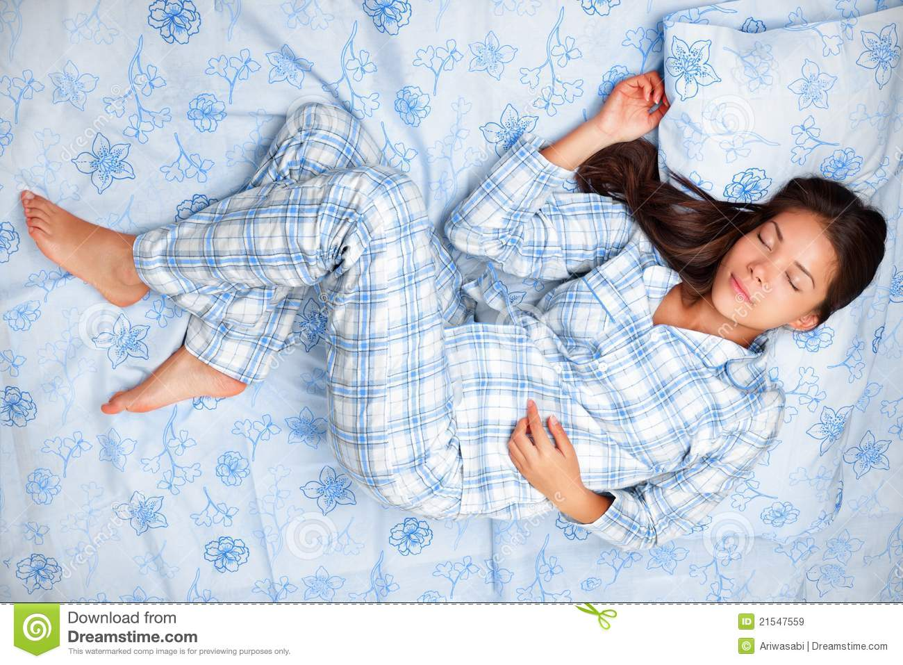Woman sleeping in bed stock image Image of down