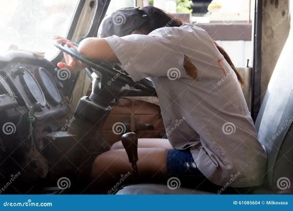 Woman Sleeping In Truck Stock Of Industry