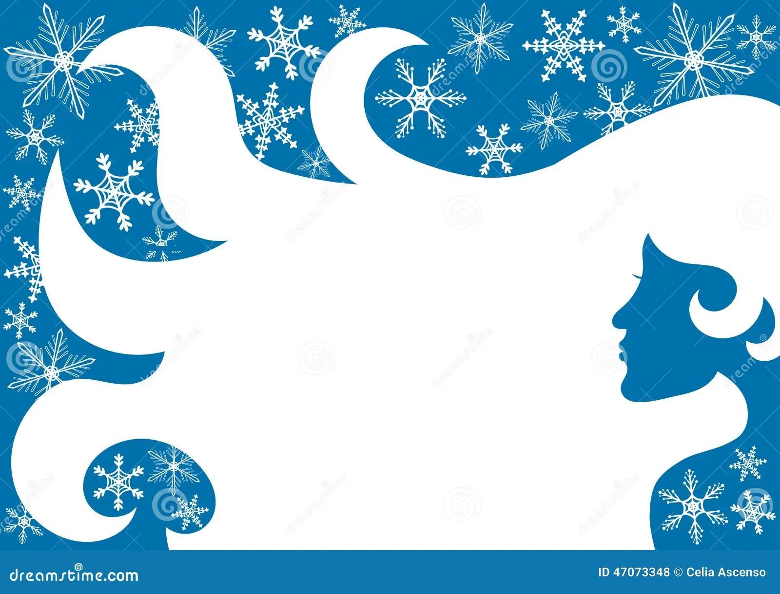Woman Snowflake Winter Frame Border Stock Vector Image