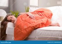 Woman Softly Sleeping Sofa Stock - Of