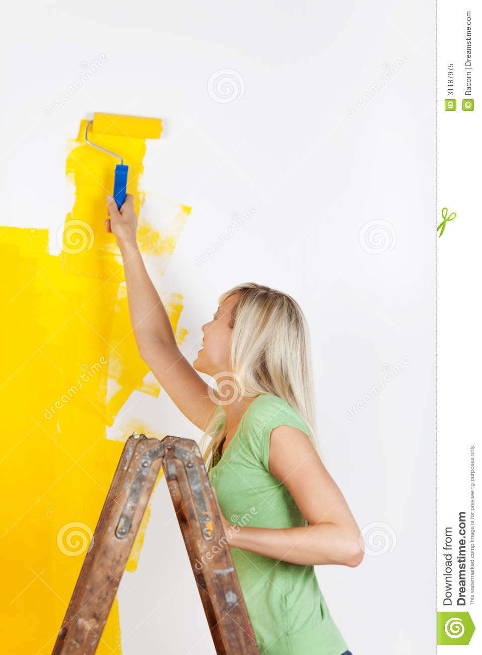 Woman Standing On A Ladder Painting Stock Image  Image 31187975