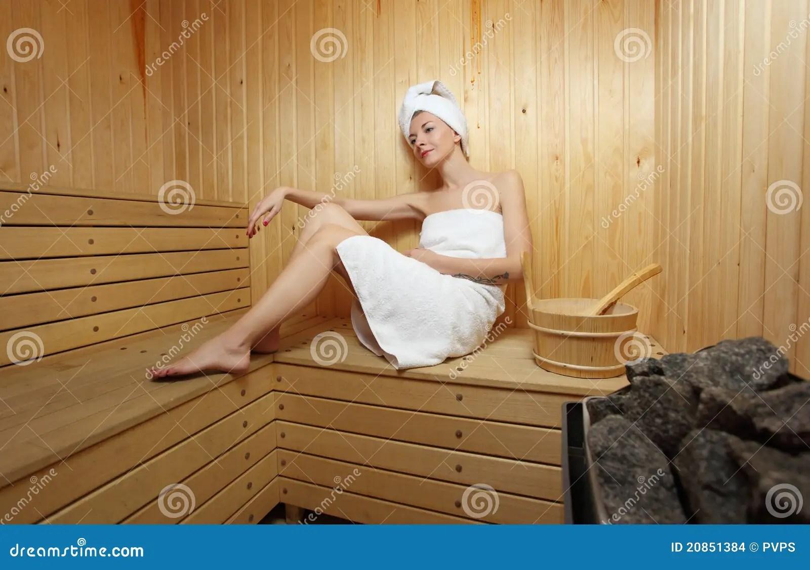 Woman And Steambath At Sauna Stock Photo  Image of